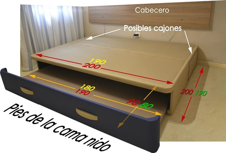 Camas nido a medida for Precio cama nido doble con cajones