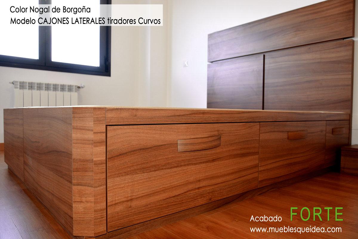 Cama de madera con cajones - Cabecero con laminas de madera ...