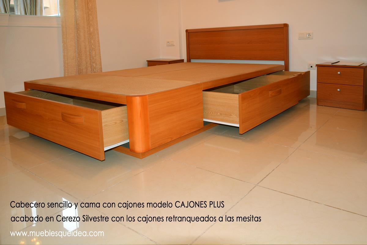Cama de madera con cajones for Camas en madera economicas