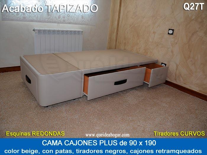 Cama nido de madera a medida for Cama con cajones 90x190