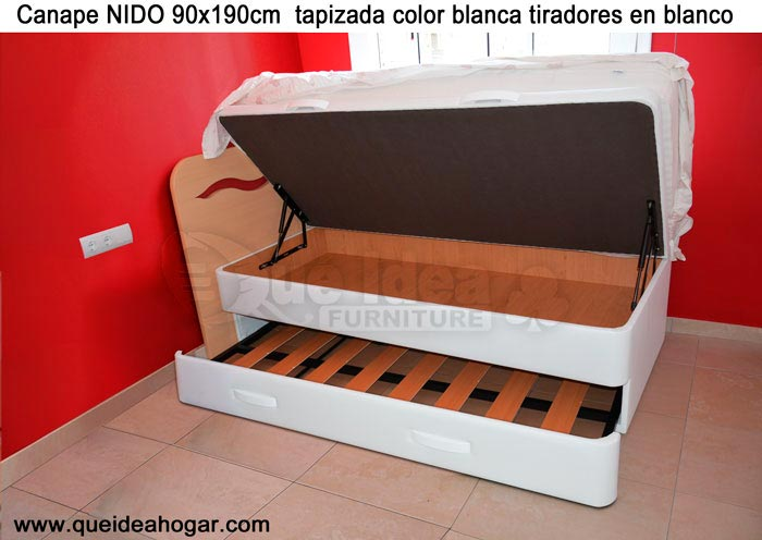 Canape abatible polipiel for Cama nido con arcon
